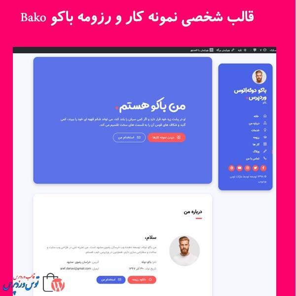 قالب شخصی نمونه کار و رزومه باکو Bako